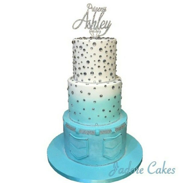 ten23designs - Denim and Diamonds cake by @jadorecakes topped with a @ten23designs cake topper... yeah, that's hot!!