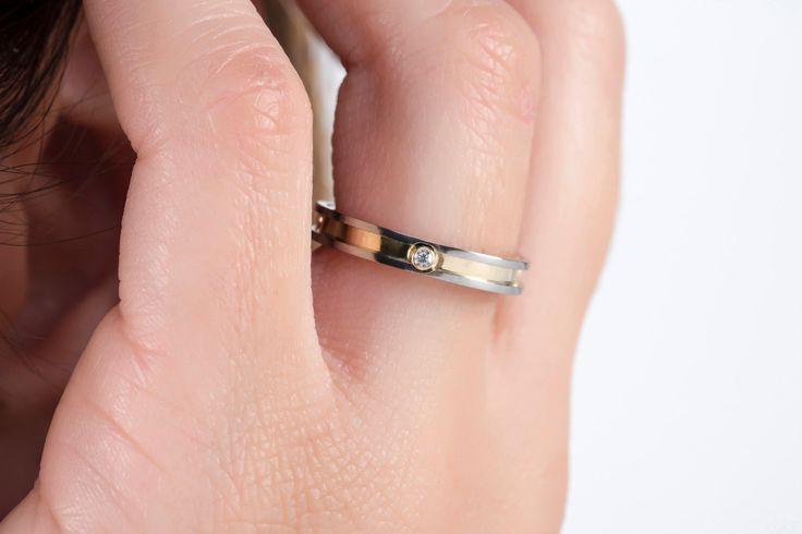 Diamond band, YELLOW GOLD SOLID, anniversary gift, engagement ring, jewelry diamond ring, titanium band, minimal ring, thin band wedding by largentolab on Etsy