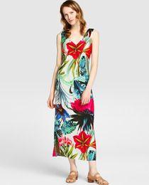 Vestido largo de mujer Roberto Verino con estampado floral