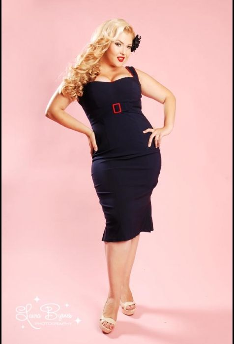 Pinup Girl Clothing; Jessica Dress in Navy with Red Trim by Pinup Couture - Plus Size - $96  va-VA VOOM!  I could totally pull this off (with some cute red heels)  love this!