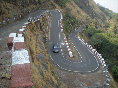 The hairpin bend on the drive up fom neral to Matheran ...