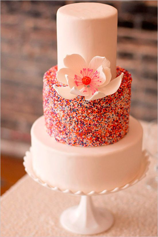 best jewelry sparkly wedding cake   colorful wedding ideas   edible floral topper    weddingchicks