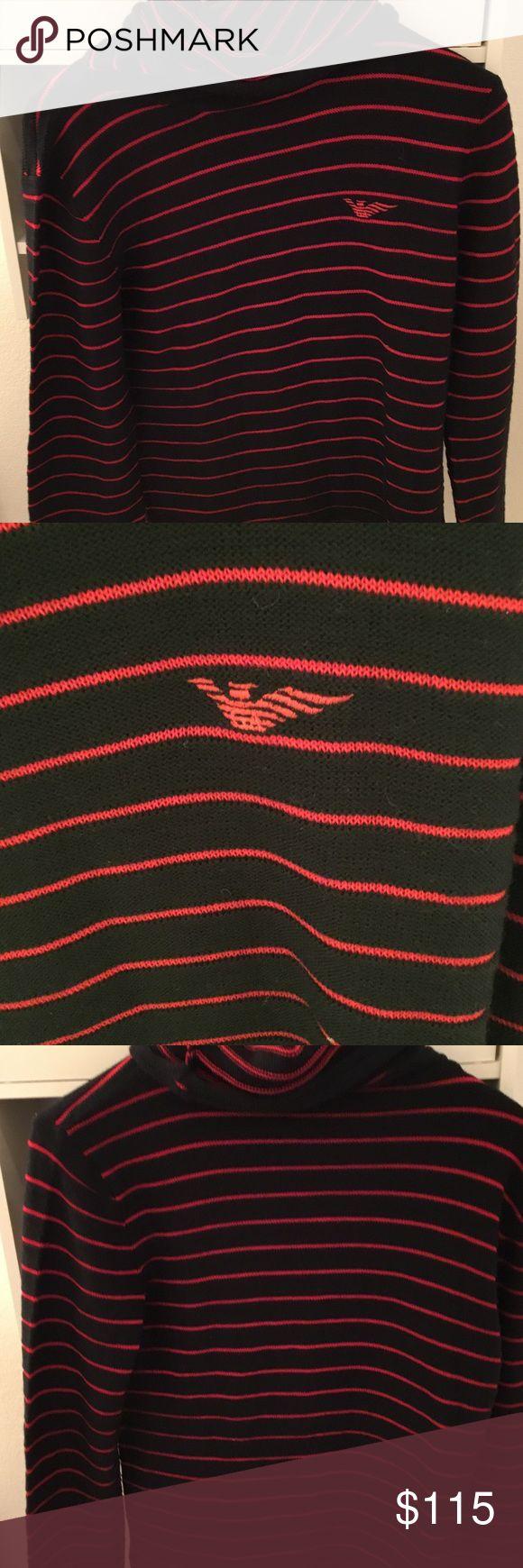 Men's Sweater Emporio Armani Men's Turtle Neck Sweater (Black with Red Stripes). US Medium. (50% Virgin Wool, 50% Acrylic). In excellent condition. Emporio Armani Sweaters Turtleneck