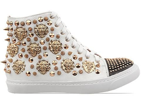 Jeffrey Campbell Adams Lion in White Black Patent Rose Gold at Solestruck.com