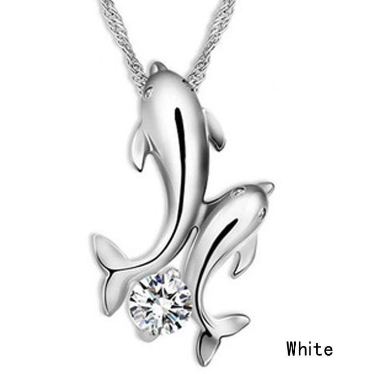Leuke verzilverd dubbele dolfijn rhinestone korte collier vrouwen mode-sieraden groothandel