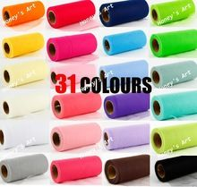 Pick kleur matt tulle roll spool 6 inch x 25 yard (6 inch x 75 ft) tutu wedding decoraties gift party bow 20d 31 kleuren(China (Mainland))