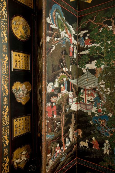 Detail of the Chinese Coromandel lacquer screen, c.1700, in the Dining Room at…