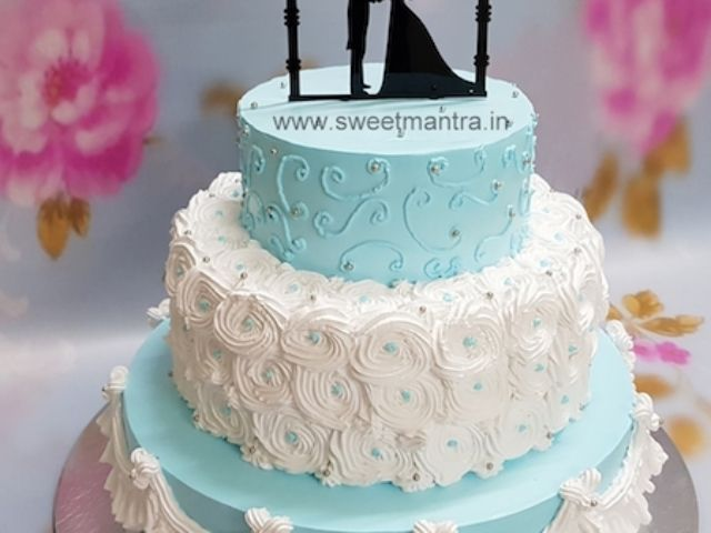 3 Tier Designer Fresh Cream Cake For Wedding Reception In Pune