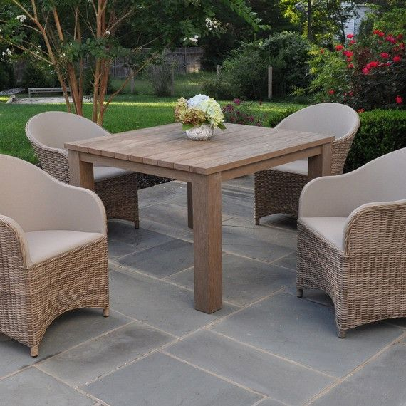 Kingsley Bate: Elegant Outdoor Furniture. Tuscany Square Table With Milano  Armchairs In Driftwood