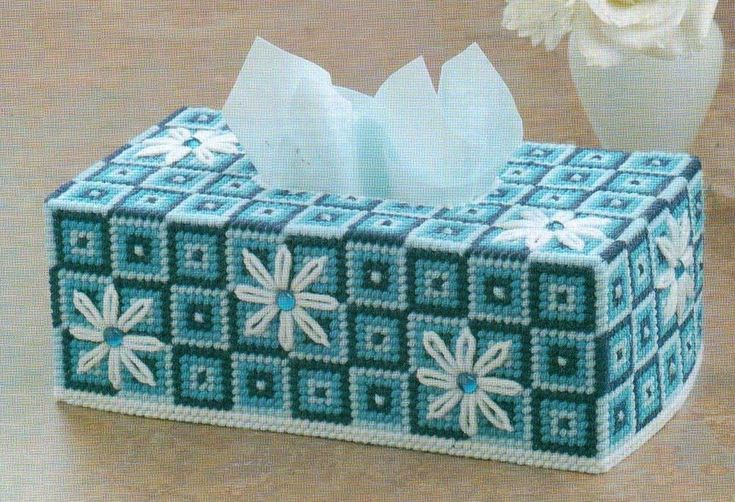 DAISIES ON BLUE FLOWERS TISSUE BOX COVER PLASTIC CANVAS PATTERN INSTRUCTIONS   | Crafts, Needlecrafts & Yarn, Embroidery & Cross Stitch | eBay!