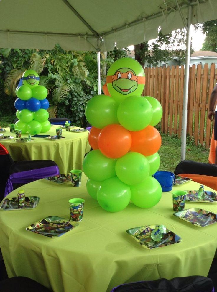 Teenage Mutant Ninja Turtles balloon centerpiece ... shellysdecor4you@... #Birthdays #BabyShowers #Graduations etc...