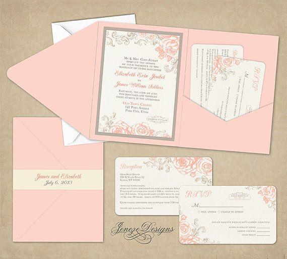 Wedding Invitation Pocket Fold By Jeneze On Etsy 3500
