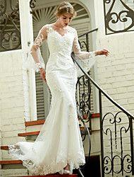 LAN TING BRIDE Trompette / Sirène Robe de mariée - Chic & Moderne Transparent Traîne Tribunal Col en V Dentelle avec Appliques Bouton