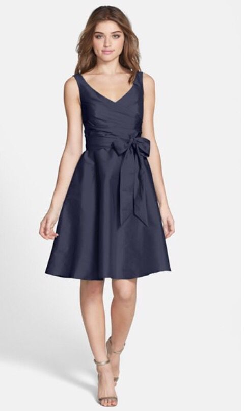 Satin fit flare dress black  Alfred Sung