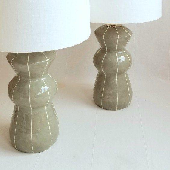 Table Lamp Ceramic For Bedside Or Living Room Etsy Ceramic Lamp Pottery Lamp Lamp