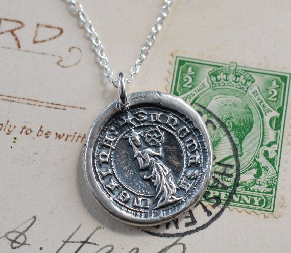 saint catherine of the wheel wax seal necklace by suegrayjewelry, $68.00