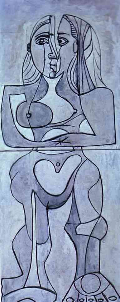 Pablo Picasso drawings | Pablo Picasso - Monolithic nu. 1958.