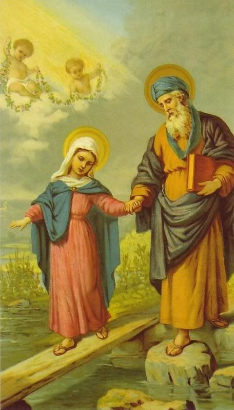 "Saint Joachim and Our Lady... father and daughter.  Sts. Joachim and Anne are good reminders that we are part of a much larger story. Their faithful and largely anonymous lives played a critically important role in salvation history. An anonymous and faithful life may be exactly what God calls you to, as well, and it may be precisely because of its ""smallness"" that it will play such a great part in saving souls. Lord, am I daring enough to see, to hear, to live a quiet, holy, and hidden…"