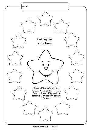 Vyfarbujeme hviezdičky - Aktivity pre deti, pracovné listy, online testy a iné
