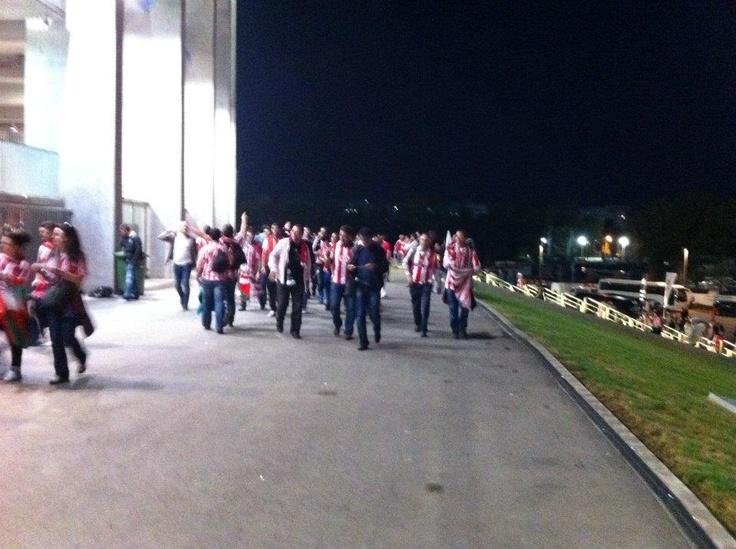 Suporterii spanioli vin pe Arena nationala la meciul Athletico Madrid - Athletic Bilbao, Finala UEFA Europa League