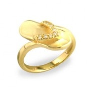 Yellow Gold Slipper Ring with Diamonds