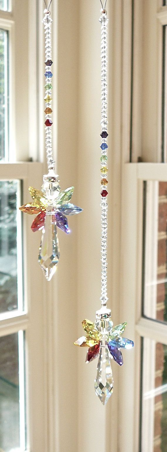 Rainbow Angel Swarovski Crystal Suncatcher, Rainbow Wings - For Home/Car…