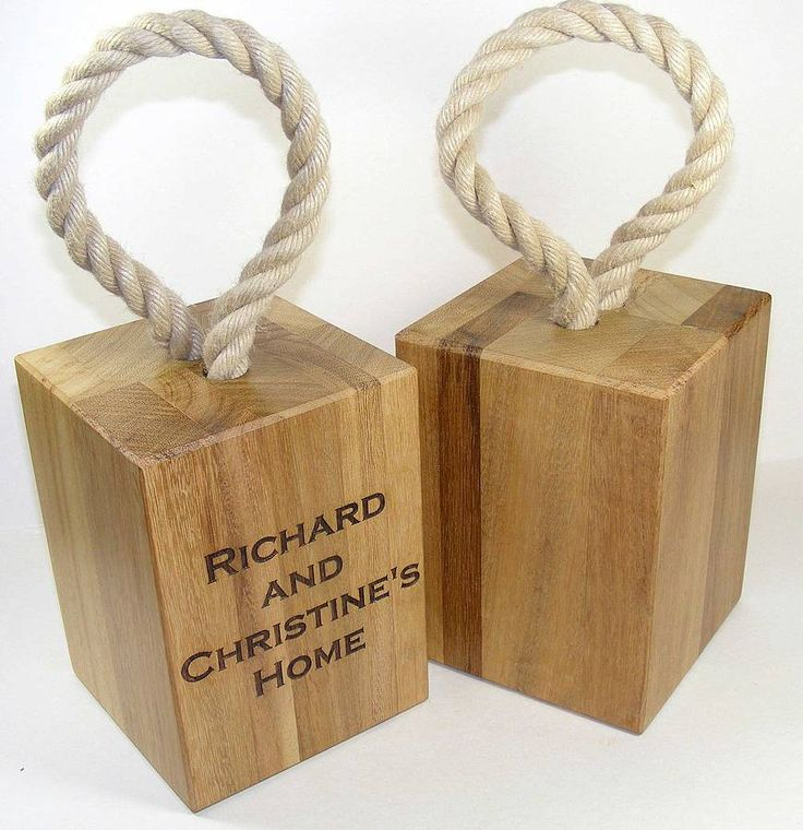 A personalised solid reclaimed wood door stop with yacht rope handle. A practical gift that makes a lovely addition to your home.Made locally by craftman carpenters and personalised in our workshop. Even the rope is from a british manufactuer. You can personalise each side of your doorstop with names or your special messageAlways popular as 'new home' gift which complements rustic and contemporary style interiors. Also makes a perfect gift for your wedding anniversary especially the 5th wood…