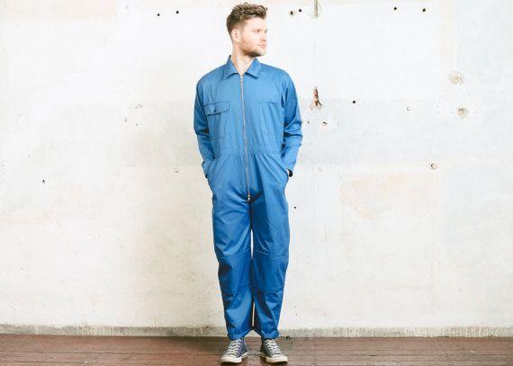 Vintage Men's COVERALLS . 80s Blue Garage Car Mechanic OVERALLS Painter Artist 80s Full Cover Jumpsuit Outerwear . size Medium
