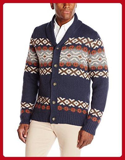 Haggar Men's Fairisle Pattern Shawl Collar Cardigan Sweater, Navy, Medium - Mens world (*Amazon Partner-Link)