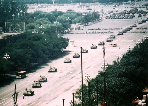 The bigger picture of the tank man on Tienanmen square. Beijing, June 5, 1989