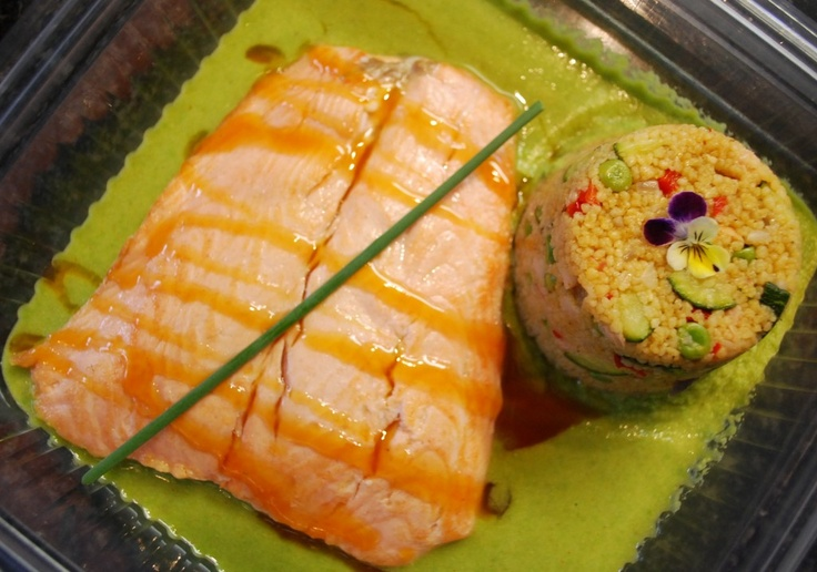 Scottish Salmon with Vegetable Cous Cous and a Hondashi Pea Puree