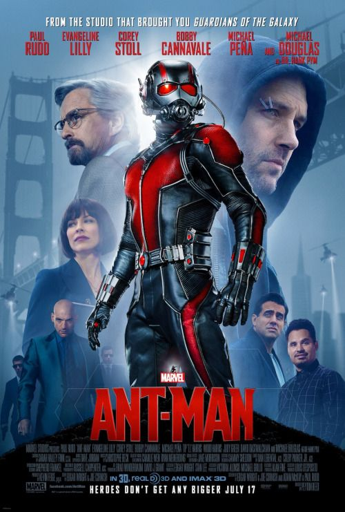 """MOVIE – Ant-Man """"2015"""" (Genre: Action) Starring: Paul Rudd as Scott Lang/Ant-Man, Michael Douglas as Dr. Hank Pym, Evangeline Lilly as Hope van Dyne, Corey Stoll as Darren Cross/Yellowjacket, Bobby Cannavale as Paxton, Anthony Mackie as Sam Wilson/Falcon, Judy Greer as Maggie Lang, Abby Ryder Fortson as Cassie Lang, Michael Peña as Luis, David Dastmalchian as Kurt. Plot: Armed with a super-suit with the astonishing ability to shrink in scale but increase in strength, cat burglar Scott Lang…"""