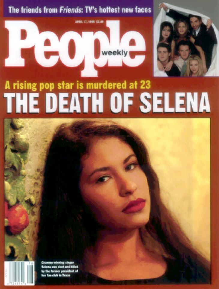 People magazine shows the Latin star Selena on the April 17th cover.  Selena's death led to a first for People magazine, its first split-run cover.  The magazine put Selena on the front of its April 17 1995 issue for copies printed in Dallas and available in 11 states from New Mexico to Mississippi.