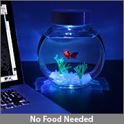 I totally want one... electronic goldfish. :)Offices Desks, Perfect Pets, Fish Food, Fish Aquariums, Thinkgeek Com, Electronics Goldfish, Led Lights, Electronics Fish, Goldfish Bowls