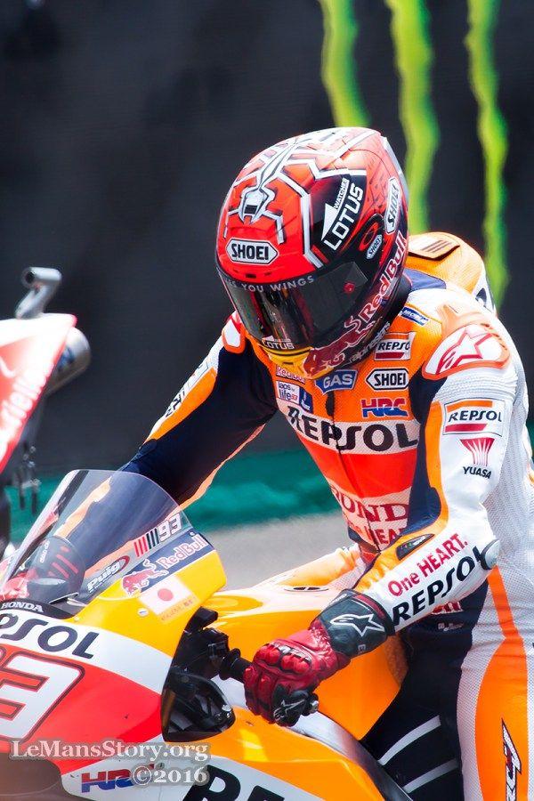 Helmet Lotus Marc Marquez 93 at starting grid at Le Mans France MotoGP