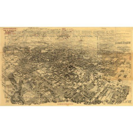 Vintage Map of Pasadena California 1903 Los Angeles County Canvas Art - (18 x 24)