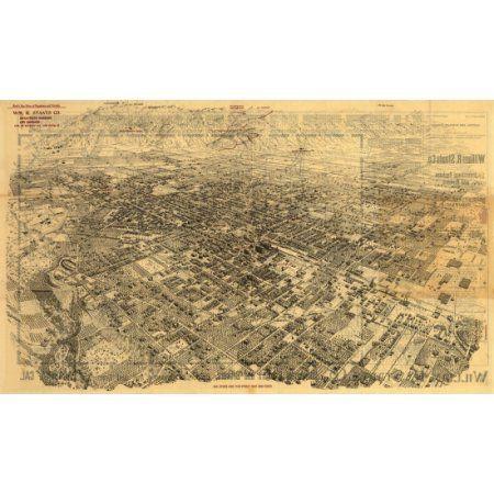 Vintage Map of Pasadena California 1903 Los Angeles County Canvas Art - (18 x 24)
