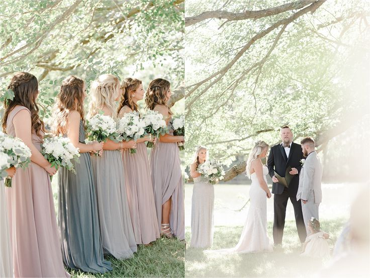 Woodlawn Estate & Slack Winery Wedding in Southern Maryland   outdoor waterside Ceremony Lavender Bridesmaids gowns