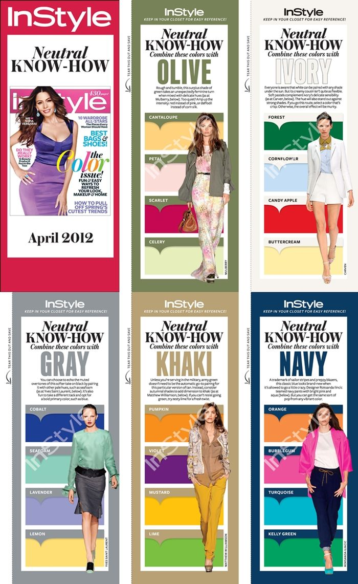 Printable Bookmarks for InStyle Neutral Know-How to keep in your closet