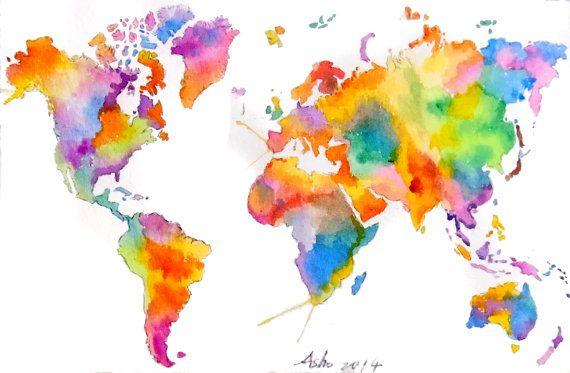 ooak- Original World Map Art - Colorful Watercolor ...