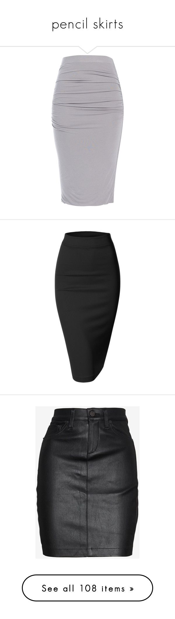 """pencil skirts"" by rowan-asha ❤ liked on Polyvore featuring skirts, bottoms, pencil skirt, knee length pencil skirt, black, stretch midi skirt, slim skirt, calf length pencil skirt, calf length skirts and leather zipper skirt"