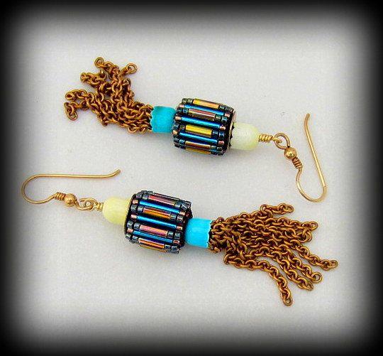 Beaded Barrel Beads EarringsPetite Vintage by bymyhandsjewelry, $27.00