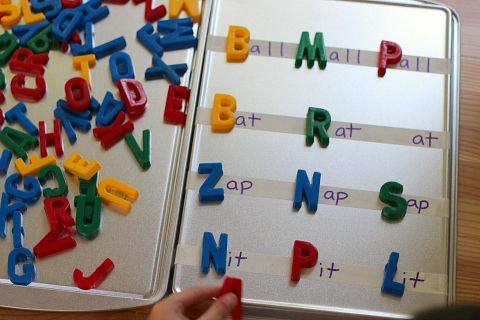 Fun word building activity for PreK or Kindergarten using letter magnets and word families.