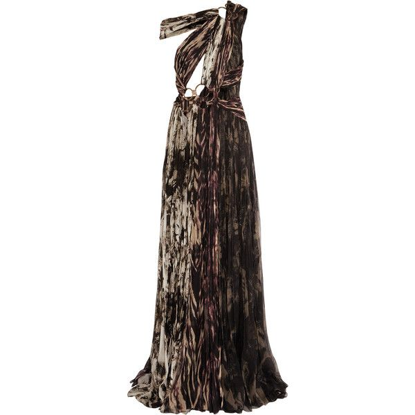 Roberto Cavalli Cutout silk-chiffon plisse gown ($2,385) ❤ liked on Polyvore featuring dresses, gowns, brown, embellished dress, brown dress, petite evening gowns, petite gowns and silk chiffon dress