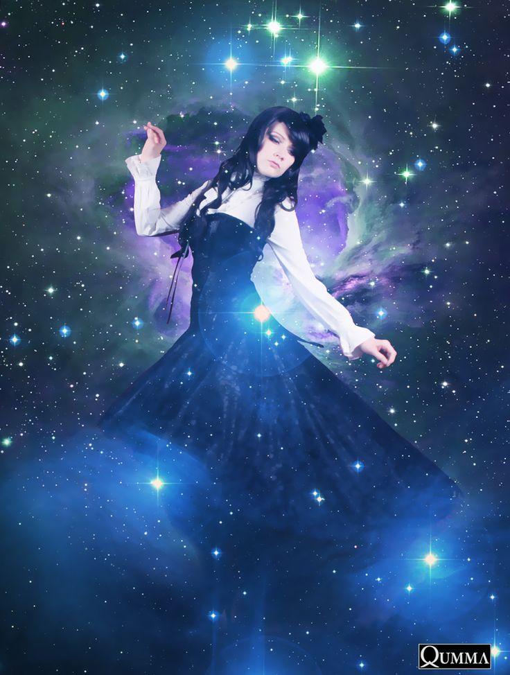 Cosmic Galaxy Stardust corset lace dress model | Photo: Qumma