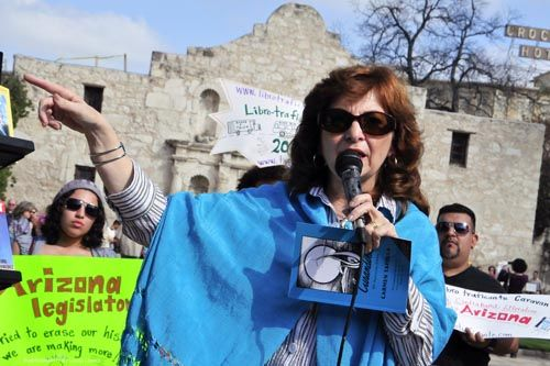 """Today we share Carmen Tafolla's poem """"Ocupando Mi Voz"""" (Using My Voice), a poem that celebrates the """"power of words."""" The first Poet Laureate of the City of San Antonio, Dr. Tafolla is currently writing a biography on civil rights organizer Emma Tenyuca. Click on image to read feature story!"""