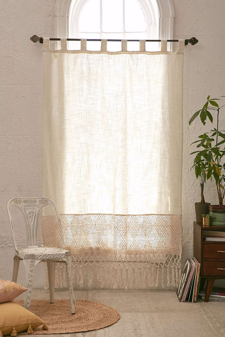 Crochet shower curtains - Delilah Crochet Curtain