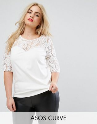 ASOS Curve Occasion Top With Pretty Lace Sleeve