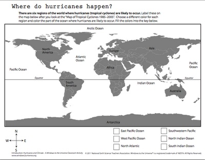 hurricane lesson plan...could use the map to show where they occur and the second sheet to discuss time of year they occur, and which areas have the most...use this vid too! http://video.nationalgeographic.com/video/kids/forces-of-nature-kids/hurricanes-101-kids/ (can't believe natgeographic doesn't allow pinning!)