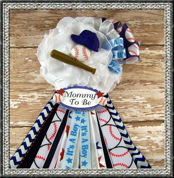 Baseball Mommy To Be Corsage Baby Shower Corsage Sports Theme Mommy Badge Corsage